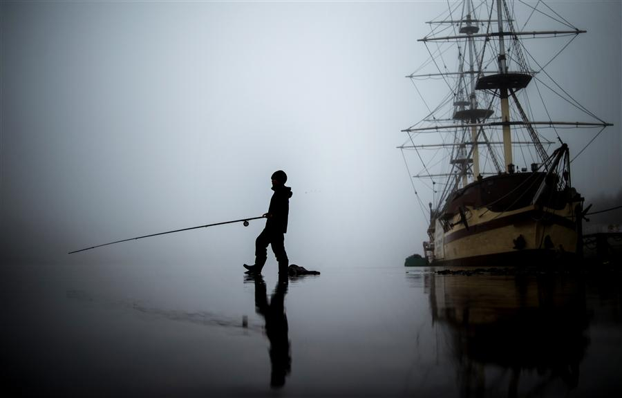 Discover Original Art by Konstantin Chalabov | Fisherman in Fog photography | Art for Sale Online at UGallery