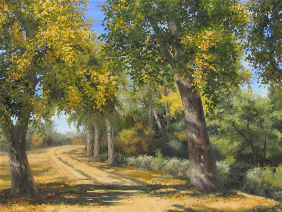 Discover Original Art by Ron Kenyon | Fall Walk oil painting | Art for Sale Online at UGallery