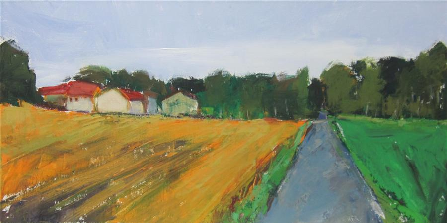 Discover Original Art by Janet Dyer | Dordogne Farm acrylic painting | Art for Sale Online at UGallery