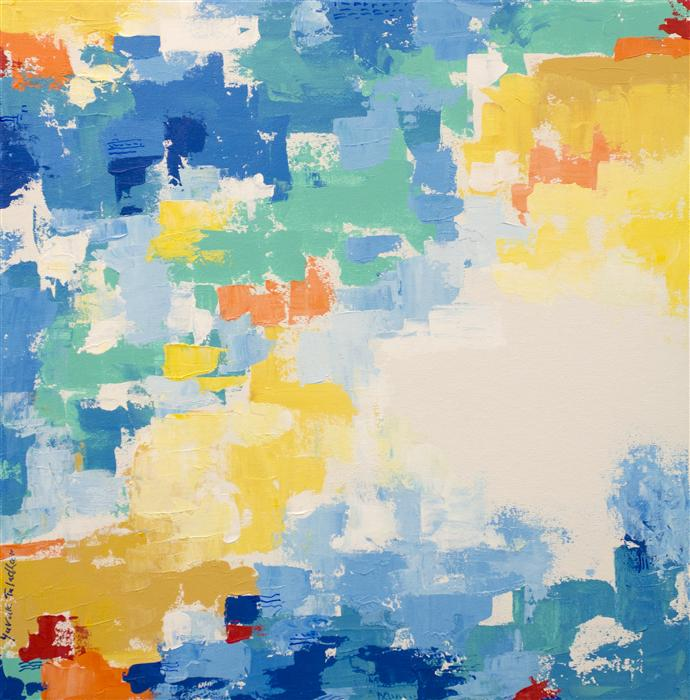 Original art for sale at UGallery.com | San Francisco in Yellow and Blue by YUVAK TULADHAR | $1,100 | Acrylic painting | 24' h x 24' w | http://www.ugallery.com/acrylic-painting-san-francisco-in-yellow-and-blue
