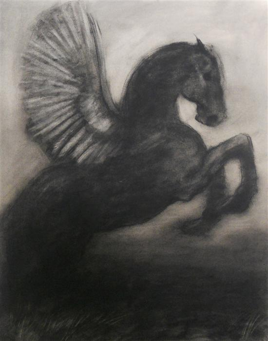 Discover Original Art by Drew McSherry | Black Pegasus charcoal drawing | Art for Sale Online at UGallery