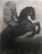 Fantasy art,Animals art,Representational art,charcoal drawing,Black Pegasus