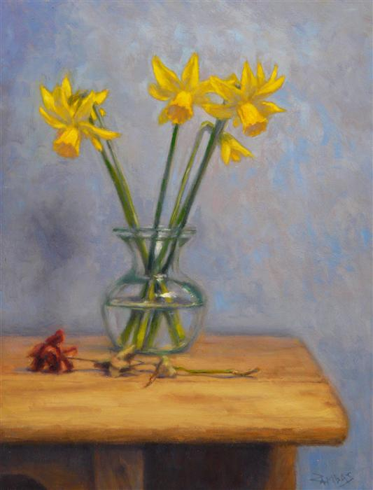Original art for sale at UGallery.com | Daffodils by PETER ZAMBAS | $1,275 | Oil painting | 23' h x 18' w | http://www.ugallery.com/oil-painting-daffodils-39299