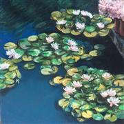 Impressionism art,Nature art,Flora art,Representational art,pastel artwork,Lily Pads