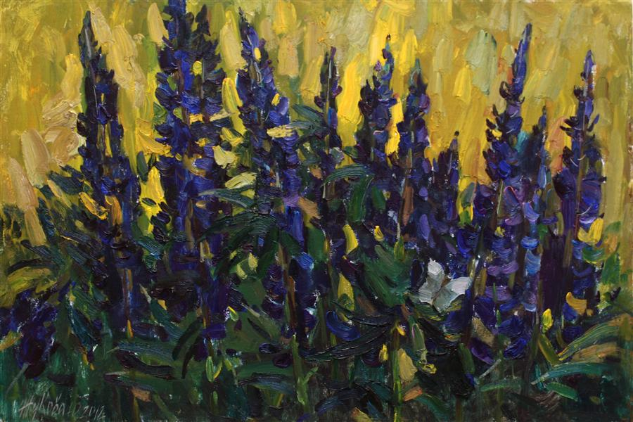 Original art for sale at UGallery.com | Lupins by JULIYA ZHUKOVA | $1,100 | Oil painting | 15.7' h x 23.6' w | http://www.ugallery.com/oil-painting-lupins