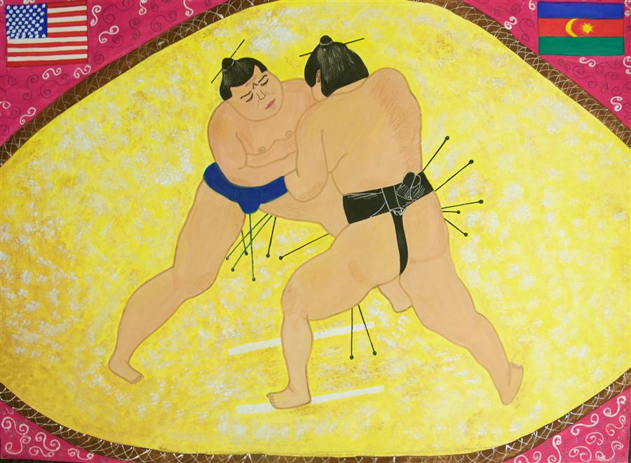 Original art for sale at UGallery.com | Sumo by INTERNATIONAL CHILD ART FOUNDATION (ICAF) | $225 | Acrylic painting | 18' h x 24' w | http://www.ugallery.com/acrylic-painting-sumo