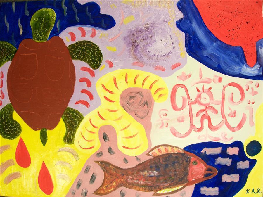 Original art for sale at UGallery.com | Snorkeling by INTERNATIONAL CHILD ART FOUNDATION (ICAF) | $225 | Oil painting | 18' h x 24' w | http://www.ugallery.com/oil-painting-snorkeling