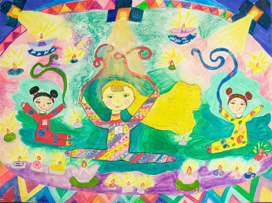 Original art for sale at UGallery.com | Gymnastics by INTERNATIONAL CHILD ART FOUNDATION (ICAF) | $225 | Crayon artwork | 17.5' h x 24' w | http://www.ugallery.com/crayon-artwork-gymnastics