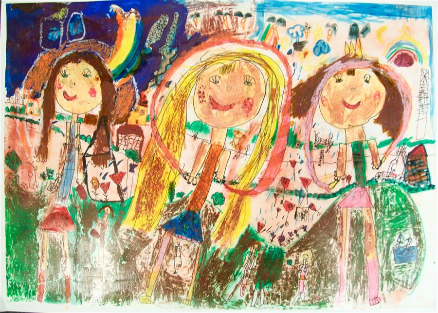 Original art for sale at UGallery.com | Untitled (Dorina) by INTERNATIONAL CHILD ART FOUNDATION (ICAF) | $225 | Crayon artwork | 18' h x 24' w | http://www.ugallery.com/crayon-artwork-untitled-dorina