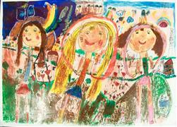 crayon artwork,Untitled (Dorina)