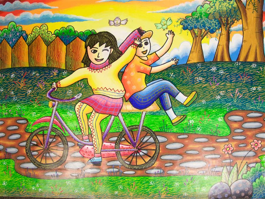 Original art for sale at UGallery.com | Happy Cycling by INTERNATIONAL CHILD ART FOUNDATION (ICAF) | $225 | Mixed media artwork | 18' h x 24' w | http://www.ugallery.com/mixed-media-artwork-happy-cycling