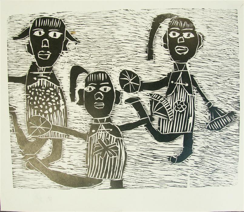 Original art for sale at UGallery.com | Dancing by INTERNATIONAL CHILD ART FOUNDATION (ICAF) | $200 | Printmaking | 11.5' h x 14' w | http://www.ugallery.com/printmaking-dancing