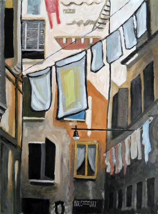 Original art for sale at UGallery.com | Wash Day in Venice by ROBERT  HOLEWINSKI | $875 | Oil painting | 23' h x 17' w | http://www.ugallery.com/oil-painting-wash-day-in-venice
