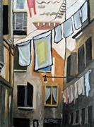 Architecture art,Travel art,Representational art,Vintage art,oil painting,Wash Day in Venice