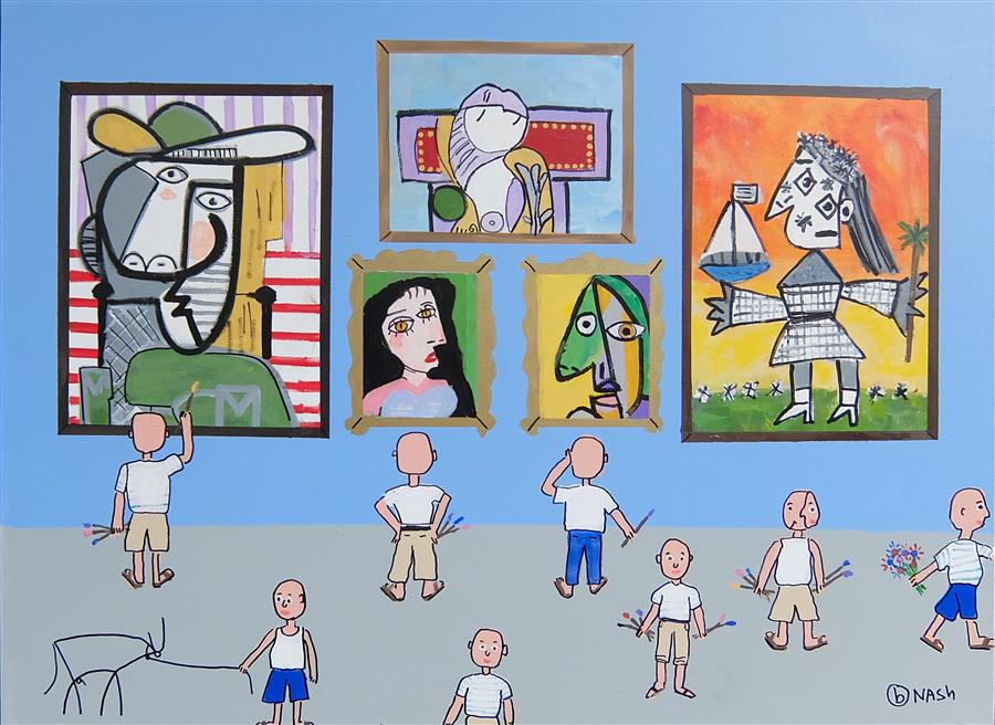 Original art for sale at UGallery.com | The Picasso Museum by BRIAN NASH | $2,075 | Acrylic painting | 36' h x 48' w | http://www.ugallery.com/acrylic-painting-the-picasso-museum