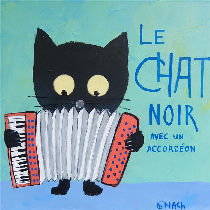 Discover Original Art by Brian Nash | Le Chat Noir avec un Accordeon acrylic painting | Art for Sale Online at UGallery