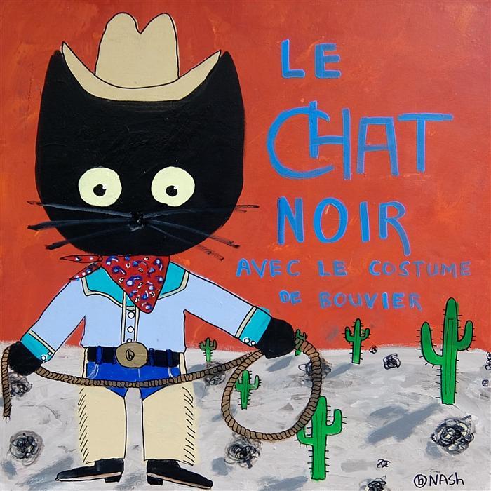 Original art for sale at UGallery.com | Le Chat Noir avec le Costume de Bouvier by BRIAN NASH | $1,575 | Acrylic painting | 36' h x 36' w | http://www.ugallery.com/acrylic-painting-le-chat-noir-avec-le-costume-de-bouvier