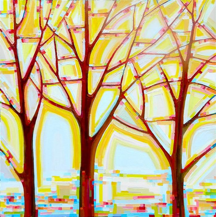 Original art for sale at UGallery.com | Tree Song No. 14 Autumn Tree by KRISTI TAYLOR | $2,775 | Acrylic painting | 36' h x 36' w | http://www.ugallery.com/acrylic-painting-tree-song-no-14-autumn-tree