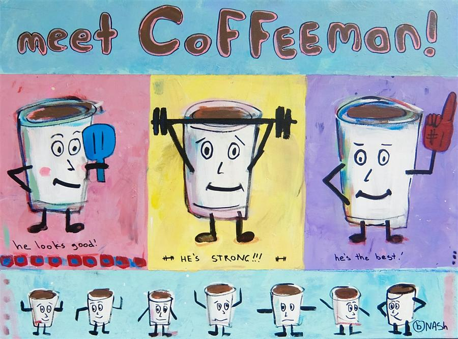 Discover Original Art by Brian Nash | Meet Coffeeman acrylic painting | Art for Sale Online at UGallery