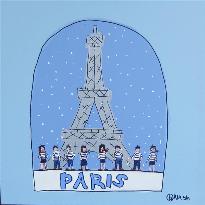 Discover Original Art by Brian Nash | Paris Snow Globe acrylic painting | Art for Sale Online at UGallery