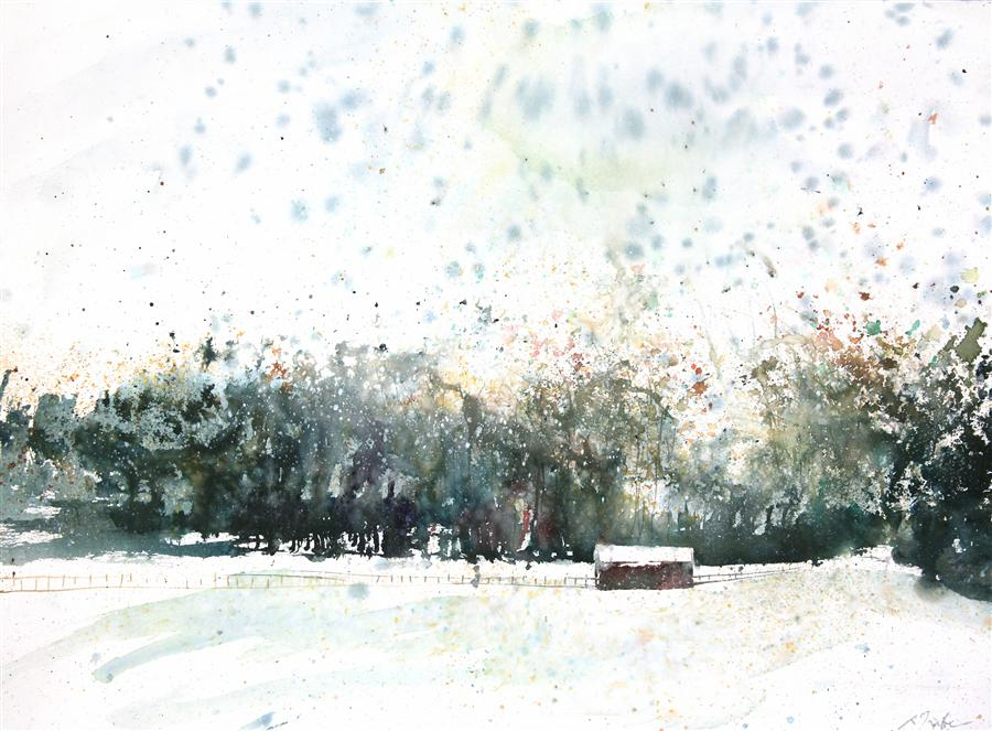 Original art for sale at UGallery.com | New England Landscape No. 207 by SUMIYO TORIBE | $425 | Watercolor painting | 22' h x 30' w | http://www.ugallery.com/watercolor-painting-new-england-landscape-no-207