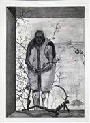Expressionism art,People art,Surrealism art,Representational art,charcoal drawing,Fence Sitter