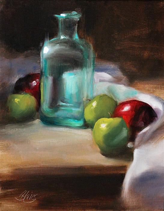 Discover Original Art by Pamela Blaies | Vintage Glass and Apples oil painting | Art for Sale Online at UGallery
