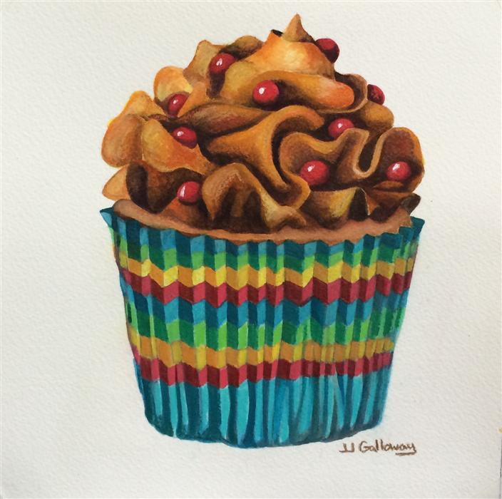 Original art for sale at UGallery.com | Carny Cupcake by JJ GALLOWAY | $300 | Watercolor painting | 8' h x 8' w | http://www.ugallery.com/watercolor-painting-carny-cupcake