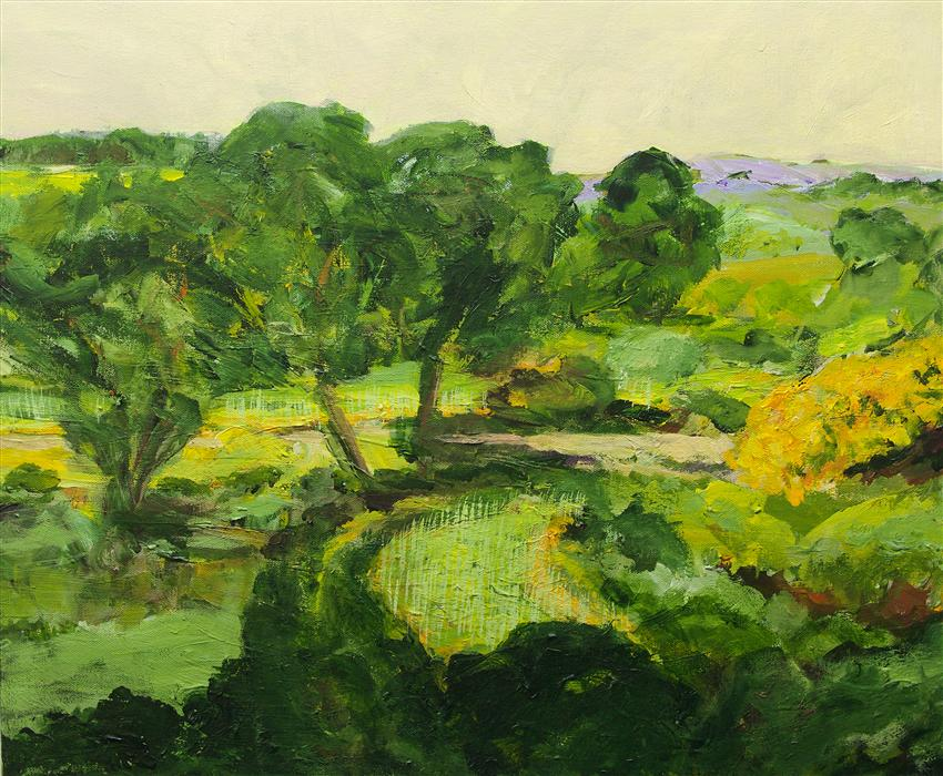 Original art for sale at UGallery.com | Cotton in the Elms by ALLAN P FRIEDLANDER | $1,000 | Acrylic painting | 20' h x 24' w | http://www.ugallery.com/acrylic-painting-cotton-in-the-elms
