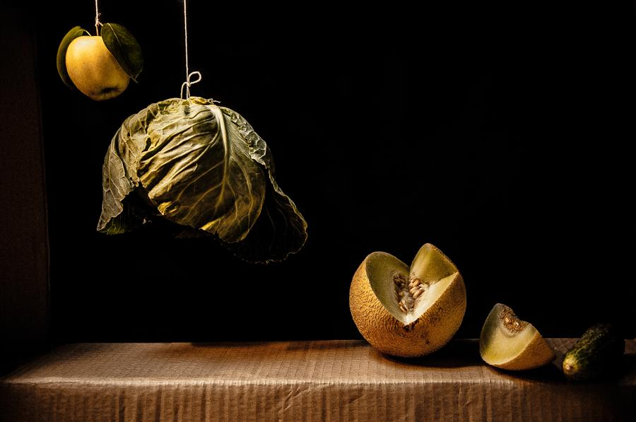 Original art for sale at UGallery.com | Still Life with Quince, Cabbage, Melon and Cucumber by ALICJA BRODOWICZ | $295 |  | ' h x ' w | http://www.ugallery.com/photography-still-life-with-quince-cabbage-melon-and-cucumber