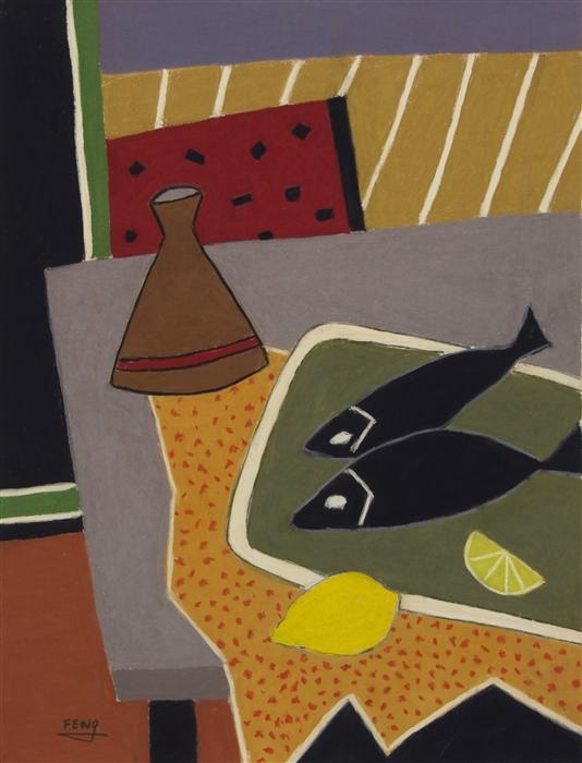 Original art for sale at UGallery.com | Black Fish with Lemons by FENG BIDDLE | $900 | Pastel artwork | 25' h x 19' w | http://www.ugallery.com/pastel-artwork-black-fish-with-lemons
