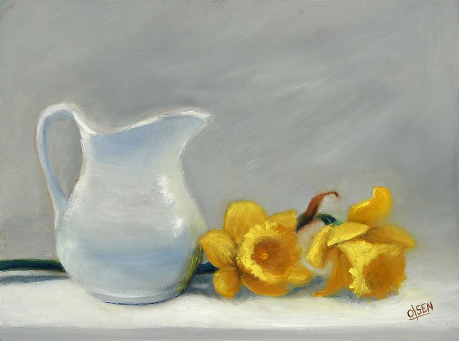 Original art for sale at UGallery.com | White Pitcher with Daffodils by CHRISTY OLSEN | $450 | Oil painting | 12' h x 9' w | http://www.ugallery.com/oil-painting-white-pitcher-with-daffodils