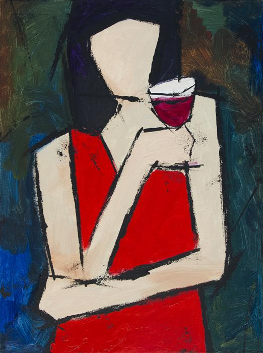 Original art for sale at UGallery.com | Glass of Wine by TANYA GRABKOVA | $875 | Acrylic painting | 24' h x 18' w | http://www.ugallery.com/acrylic-painting-glass-of-wine