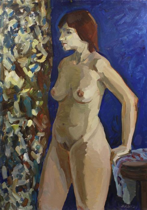 Original art for sale at UGallery.com | Nude on Blue by JULIYA ZHUKOVA | $1,500 | Oil painting | 39' h x 27.5' w | http://www.ugallery.com/oil-painting-nude-on-blue-41020