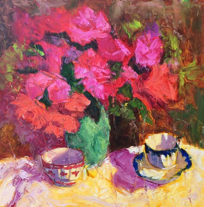 Original art for sale at UGallery.com | Roses and Red Bowl by ROXANNE STEED | $550 | Oil painting | 12' h x 12' w | http://www.ugallery.com/oil-painting-roses-and-red-bowl