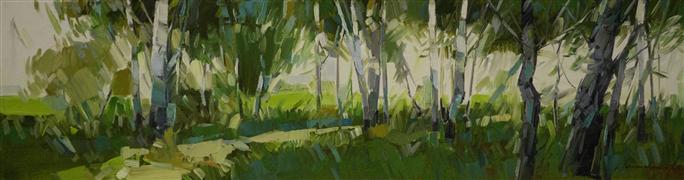 Impressionism art,Landscape art,Nature art,Representational art,oil painting,Birches Grove in Cobalt