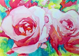Nature art,Flora art,Representational art,watercolor painting,Pink Roses 3