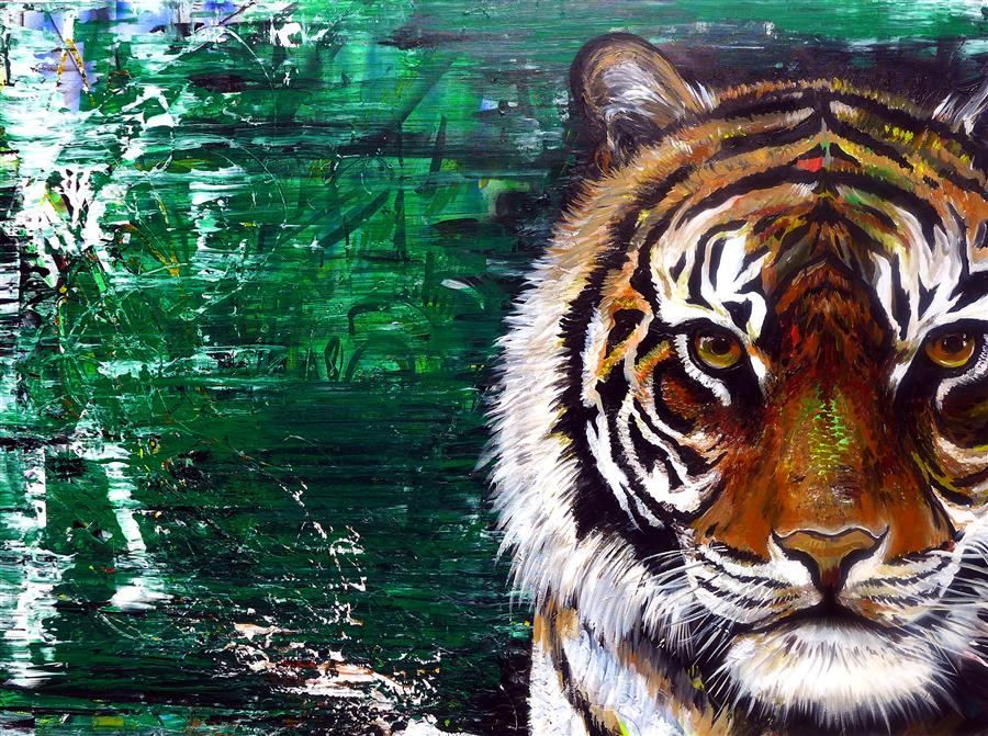 Original art for sale at UGallery.com | Tiger by PIERO MANRIQUE | $2,875 | Acrylic painting | 36' h x 48' w | http://www.ugallery.com/acrylic-painting-tiger