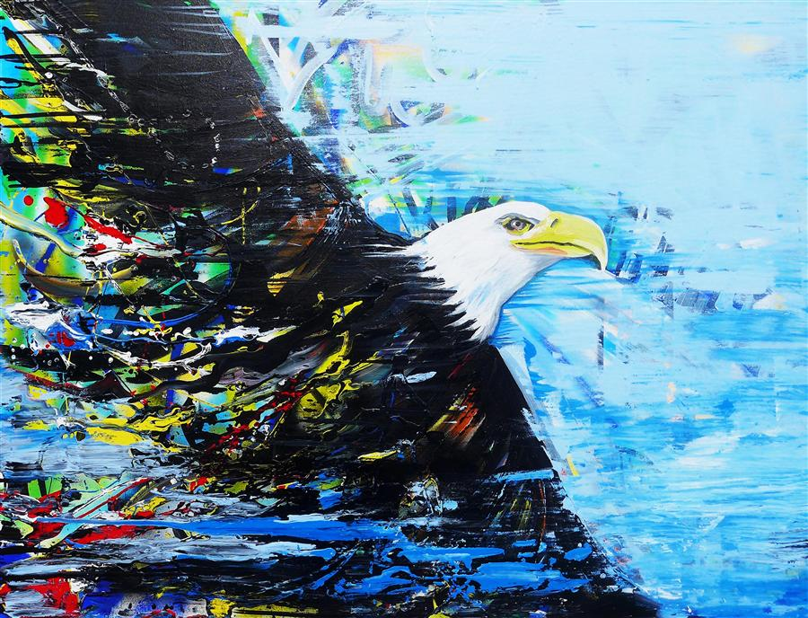 Original art for sale at UGallery.com | Eagle Soars by PIERO MANRIQUE | $1,575 | Acrylic painting | 30' h x 40' w | http://www.ugallery.com/acrylic-painting-eagle-soars