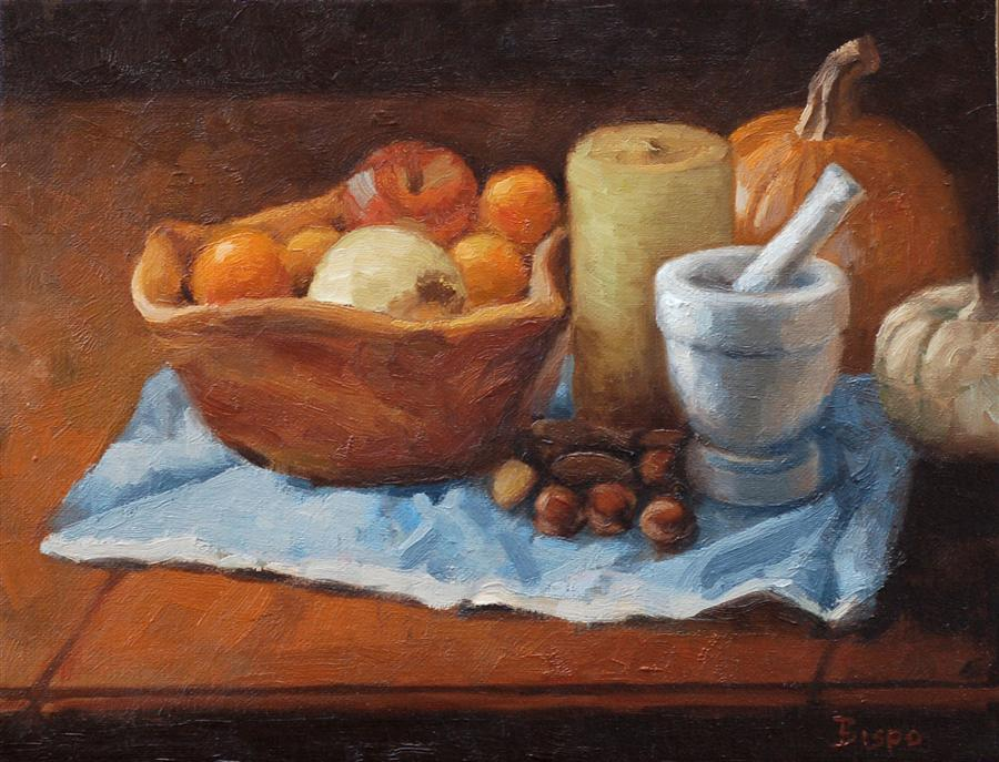 Original art for sale at UGallery.com | Still Life with Oranges by LOUIS BISPO | $450 | Oil painting | 11' h x 14' w | http://www.ugallery.com/oil-painting-still-life-with-oranges-41098