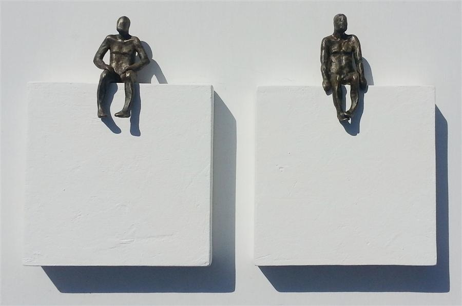Discover Original Art by Yelitza Diaz | U-6 Small Being Sitting on White Square (Two Pieces) sculpture | Art for Sale Online at UGallery