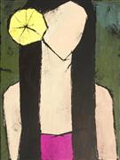 People art,Representational art,Primitive art,acrylic painting,Yellow Flower