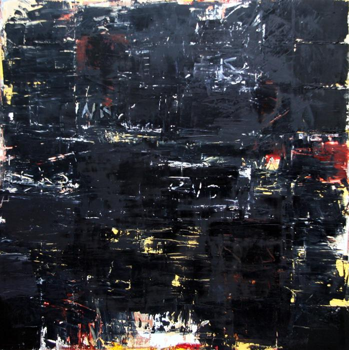 Original art for sale at UGallery.com | Black Painting #3 by JIM BLACK | $4,475 | Encaustic artwork | 48' h x 48' w | http://www.ugallery.com/encaustic-artwork-black-painting-3