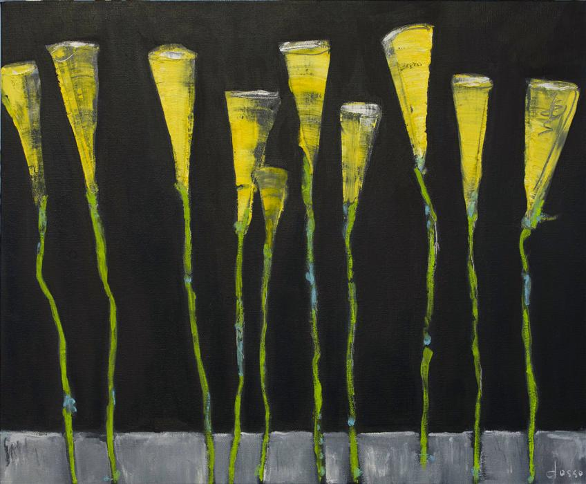 Original art for sale at UGallery.com | Calla Lilly's in the Night by ANNE DOSSO-POWELL | $800 | Oil painting | 20' h x 24' w | http://www.ugallery.com/oil-painting-calla-lilly-s-in-the-night