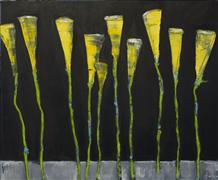Flora art,Minimalism art,Representational art,oil painting,Calla Lilly's in the Night