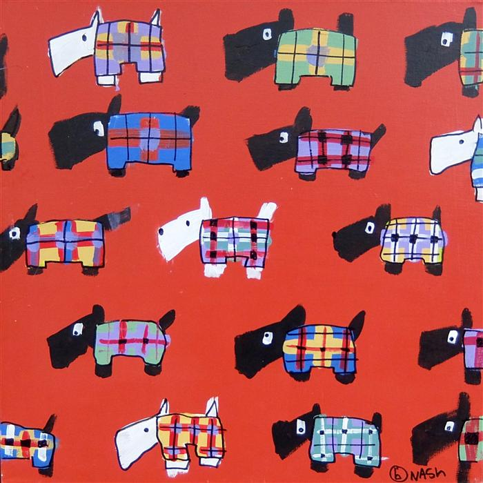 Original art for sale at UGallery.com | Tartan Scotties by BRIAN NASH | $550 | Acrylic painting | 24' h x 24' w | http://www.ugallery.com/acrylic-painting-tartan-scotties