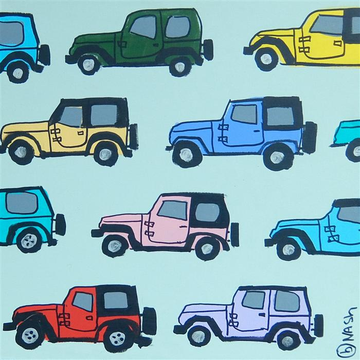 Original art for sale at UGallery.com | Jeeps by BRIAN NASH | $550 | Acrylic painting | 24' h x 24' w | http://www.ugallery.com/acrylic-painting-jeeps