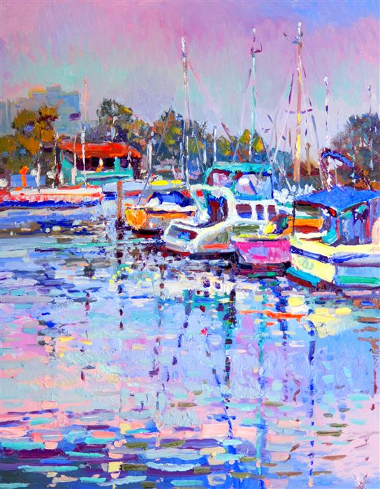 Discover Original Art by Suren Nersisyan | Boats in Marina del Rey oil painting | Art for Sale Online at UGallery
