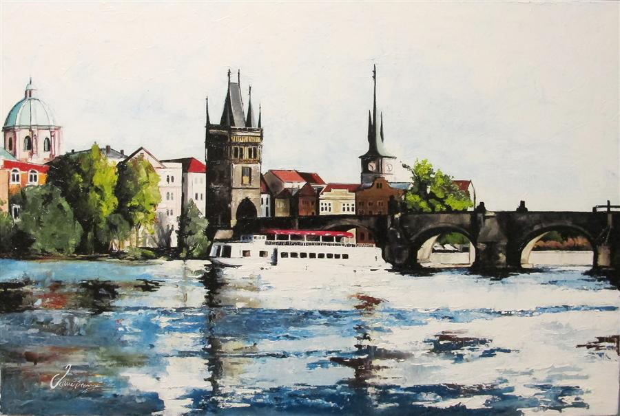 Original art for sale at UGallery.com | River Prague by NEDIM OMERCAUSEVIC | $1,100 | Oil painting | 20' h x 30' w | http://www.ugallery.com/oil-painting-river-prague