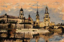 Architecture art,Impressionism art,Travel art,Representational art,oil painting,River Elbe
